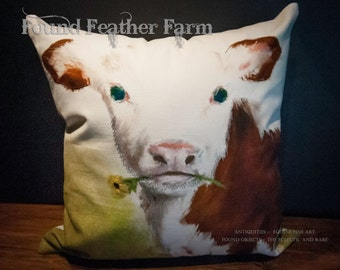 Handmade Cotton Pillow of a Precious Red and White Holstein Calf