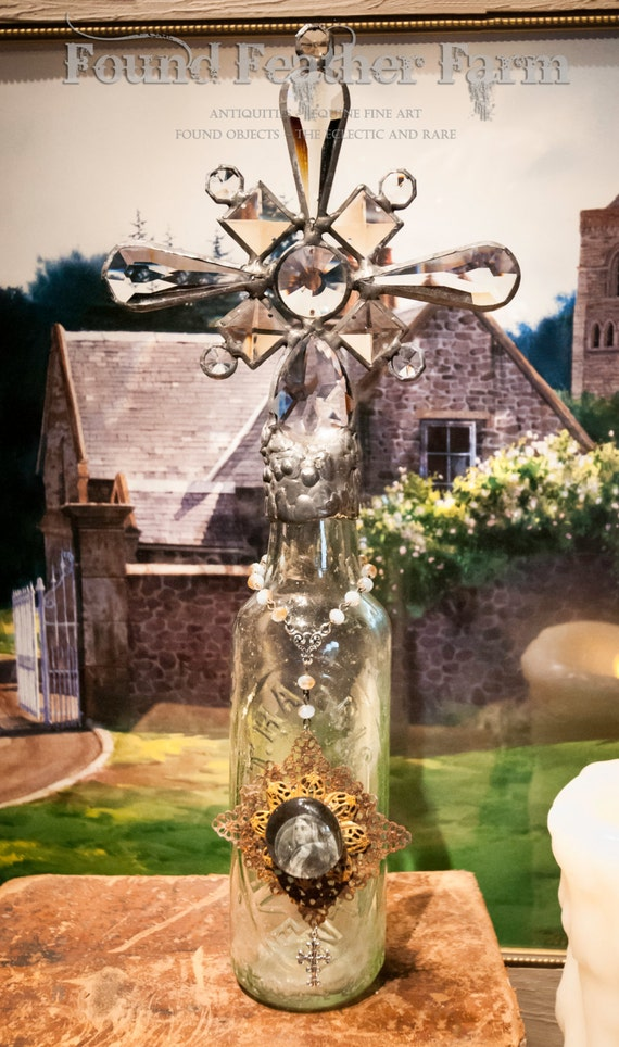 Handmade Glass Cross Bottle with an 1800's Era English Antique Glass Bottle Base ~ The Cotswold Collection