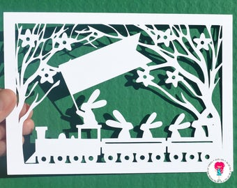 Rabbits on a train journey paper cut svg / dxf / eps / files and pdf / png printable templates for hand cutting. Digital download.