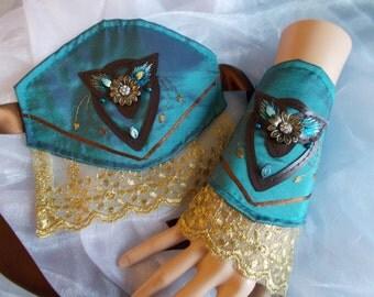 Cuff Bracelets, Fabric Cuffs, Steampunk Cuffs, Victorian Cuffs, Costume, Embroidered, Beaded, Petrol Green