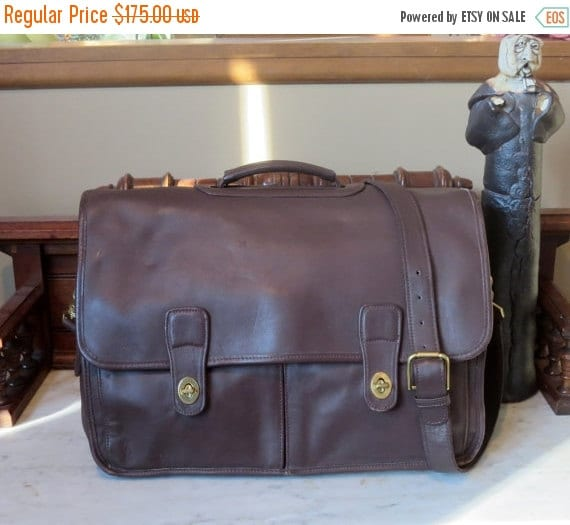 Football Days Sale Coach Organizer Briefcase Attache Laptop IPad Case -Mahogany Leather With Brass Hardware Style No 532- Very Large - EUC