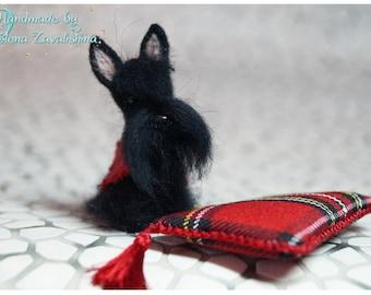 OOAK miniature felt dog/Scottie/Needle felt dog/Dollhouse/Miniature/Tiny animal/ Scottish  Terrier/ 1:12/Best selling item