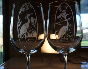 large heron on large wine glass   or 2 herons on large wine glass sold separately