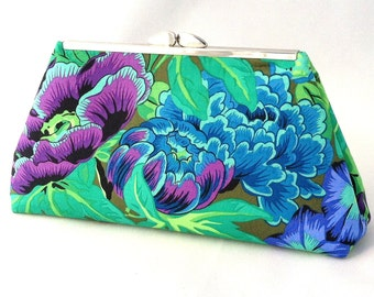 Turquoise Purse ~ Floral Clutch Handbag ~ Tropical Floral Green Purse