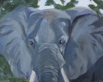 "Watchful Elephant - Original Painting - 20""x24"" - Acrylic on Canvas"