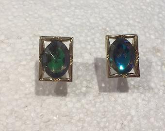 Vintage Rectangular Cufflinks with Iridescent Stones