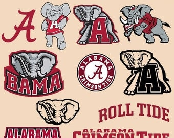 Alabama Crimson Tide SVG Alabama Logo Clipart Vector Printable Cricut SIlhouette Die Cut