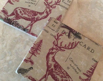 Set of 2 Marble Coasters ~Christmas/Vintage Postcard/Stag/Xmas Decor
