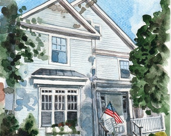 Custom house watercolor Original home painting Watercolor house portrait Wall decor Custom house illustration Gift for new homeowner Home