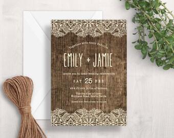 Rustic Wedding Invitation   Printable Wedding Invitation   Wood & Lace Wedding Invitation   Country Wedding Invitation