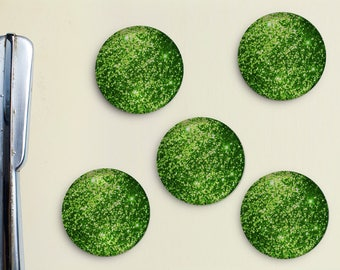 Glitter Magnets - Green, Lime, Lime Green, Girly, Office, Organization, Home Office, Refrigerator, Fridge, Glitzy, Locker Magnet, Organize