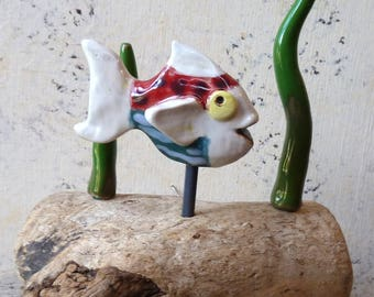 Quirky Character Driftwood and Ceramic 3D Fish Ornament Hand Made Free Standing - Bathroom
