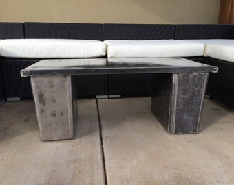 Coffee table, Industrial, Reclaimed, Repurposed, Polished Steel, 100% recycled