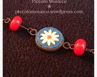Micro mosaic bracelet - white daisy