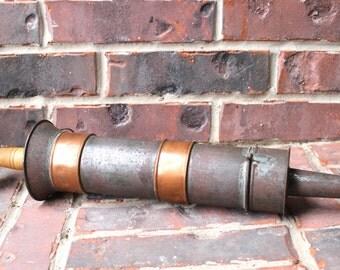 Antique Sausage Stuffer Primitive Kitchen Butcher Tool Metal Copper Bands Wooden Plunger