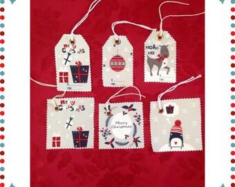 Fabric xmas tags - set of 6