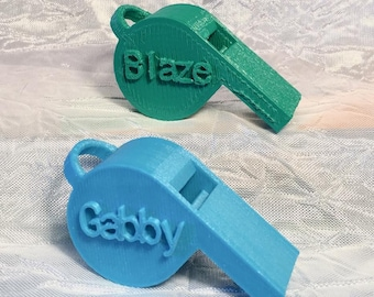 Personalized Whistles 3D Printed with loop for a lanyard or keychain