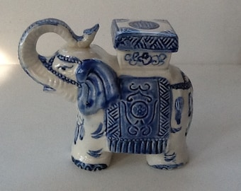 Vintage Porcelain Elephant / Elephant Figurine / Blue and White Ceramic Elephant