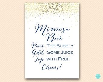Navy Gold Mimosa Bar Sign, Mimosa Bar Printable, Bubbly Bar Sign, Mimosa Sign, Mimosa Bar, Bridal Shower Decoration Signs BS472N