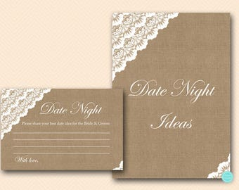 Burlap Date Night Idea Card and Sign, Date Idea for Bride and Groom Printable, Bridal Shower Activity Printable BS34