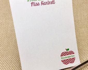 Personalized Teacher Notepad - Teacher Notepad - Chevron Apple - Custom Notepad - Teacher Appreciation - End of Year Gift - Teacher