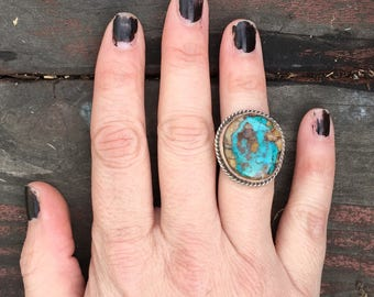Classic Round Turquoise Statement Ring