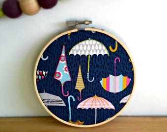 Umbrella embroidery hoop art, modern embroidery, wall decor, new home gift, nursery decor, hand stitched, stitched art, fabric wall hanging