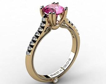 Classic Italian 14K Yellow Gold 1.0 Ct Pink Sapphire Diamond Engagement Ring R1130-14KYGDPS