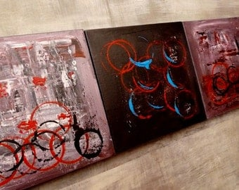 A set of 3 paintings | Acrylic on canvas | 'CIRCLE OF LIFE series Nos.14, 15, 16'