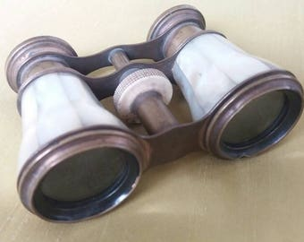 Vintage Opera Glasses. Mother of Pearl and Brass. Working Binoculars. Theatre Period Costume, Reenactor 20s. Steam Punk