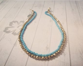 Turquoise and Gold Beaded Anklet/Ankle Bracelet, Beach Jewellery, Surf Style