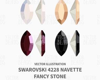 Swarovski 4228 Navette Fancy Stone Vector Illustration