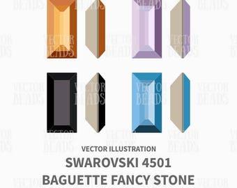 4501 Swarovski Baguette Fancy Stone Vector Illustration - ai, eps, pdf, png