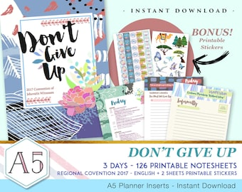 3 days Regional Convention 2017 Notebook + Stickers - INSTANT DOWNLOAD - Don't Give Up - 126 printable pages - English