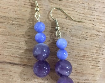 Amethyst and Blue Lace Agate glass bead dangle earring