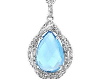 3.94 CT 14K White Gold Blue Topaz & Diamond Tear Drop Colored Stone Pendant