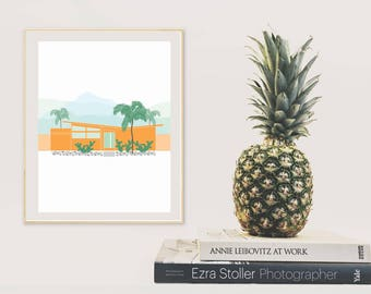 Butterfly house - palm springs california - orange house illustration - printable wall art - Digital wall decor - INSTANT DOWNLOAD