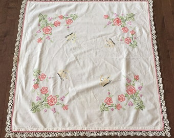 Gorgeous vintage white butterfly floral cotton embroidered table square with crochet details.