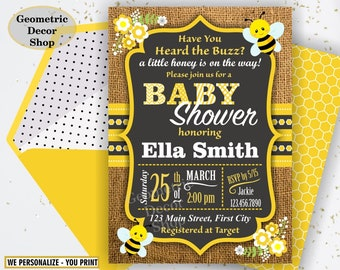 Bumble Bee Baby Shower Party Chalkboard Invite Burlap Invitation Rustic Digital Printable Black Yellow Neutral Boy Girl Flowers BSBee2