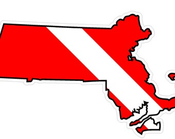 Massachusetts State (Y22) Diver Down Flag Vinyl Decal Sticker Car Laptop/Netbook
