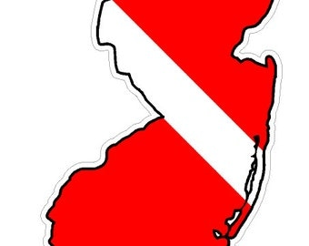 New Jersey State (B31) Diver Down Flag Yeti Tumbler Decal Sticker Laptop