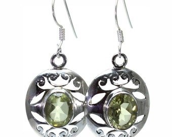 Lemon Quartz Earrings, 925 Sterling Silver, Unique only 1 piece available! color yellow, weight 4.7g, #24517