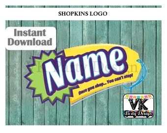 Personalized Shopkins Logo. Shopkins with your own name.