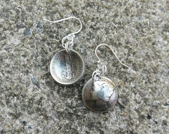 Dime earrings  - Coin earrings - Mercury dime earrings - authentic coins - dime jewelry  - gift for her - silver dime earrings