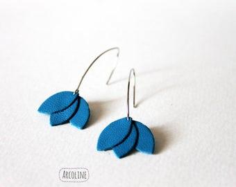 Earrings Lotus petals leather blue