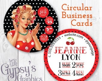 Perfectly Posh Business Cards, RockaBilly,Perfectly Posh Circular Cards,Perfectly Posh Marketing,Posh Calling Cards,Posh Business Material