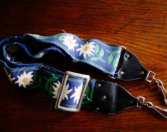 Cool Vintage Hippie Style Shoulder Strap for Camera. Fabric and Leather