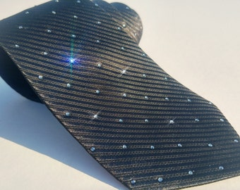 Swarovski Crystal Necktie - Men's Necktie - Embellished Necktie - Crystal Necktie - Special Occassion Tie - Men's Apparel - Black Frida
