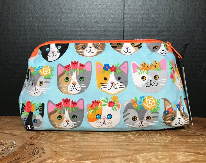Colorful Cats with flower crowns | make up bag, money bag, cosmetic bag, everything bag, zipper pouch, Plum & Khloe Design bag.