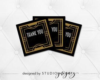 "Art Deco || Roarin Twenties Printable Blank Thank You Tags, Printable 2.5"" Favor Tags, Blank Art Deco Thank You Favor Tags"